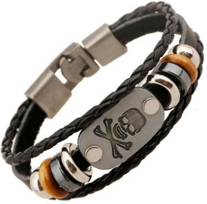 Simple on the buckle multi - layer leather bracelet bronze cave head bracelet beaded men and women gifts