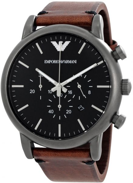 7793a67c3623 Emporio Armani Men s Black Dial Leather Band Watch - AR1919