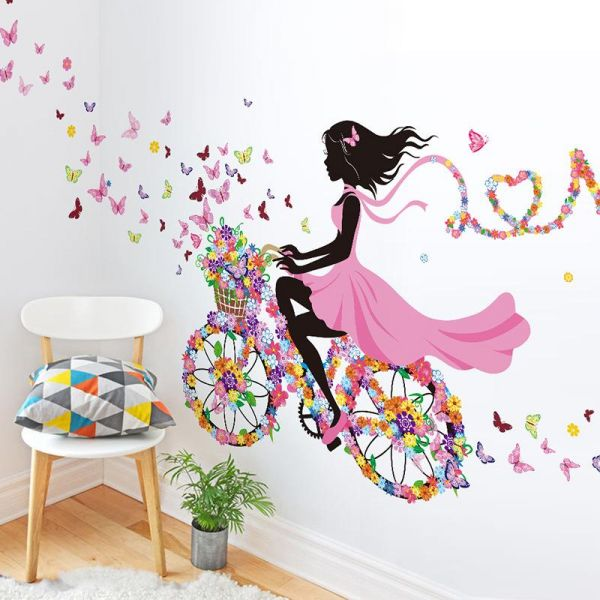 cycling girl decorative stickers original design wall stickers wall