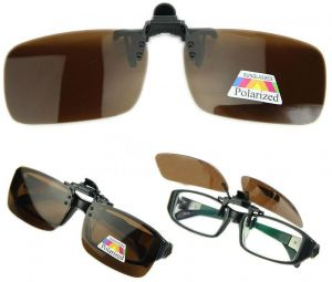 5fd616def2d7 Polarized Day Night Vision Flip up Clip on Lens Driving Sunglasses L Size  Brown  ETH-P3