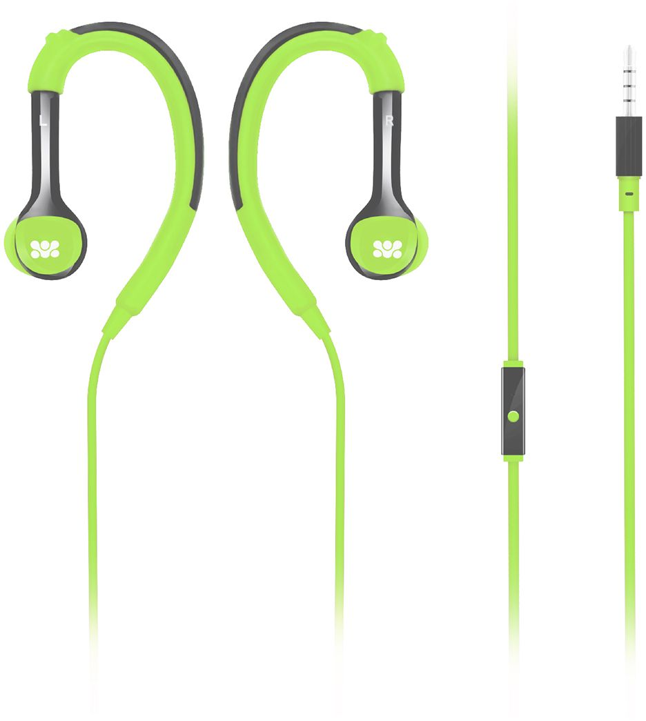 Promate In-Ear Headphones, Adjustable Over-Ear In-Ear Wired Earphones with Stereo Sound, Built-In Microphone and Noise Cancelling Earhook Headset for iPhone X, Samsung Note 8, Smartphone, Tablets, Natty Green