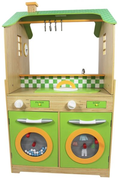 Teamson Kids Kitchen with Dual Washers Set Pretend Play Toy - Green,  TD-11465A