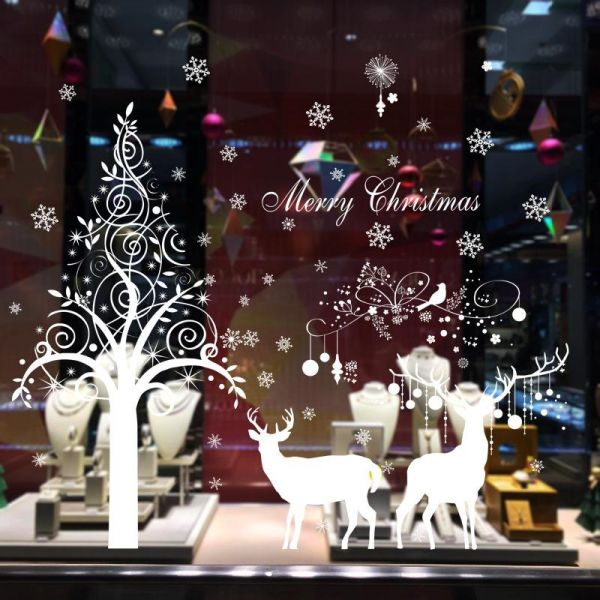 Souq | White Tree and Snowflakes Wall Decal Elk Christmas Festival ...