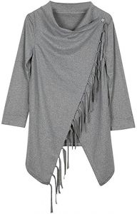 44045638ef49e Grey Polyester Shirt Neck Cardigan   Poncho Top For Women