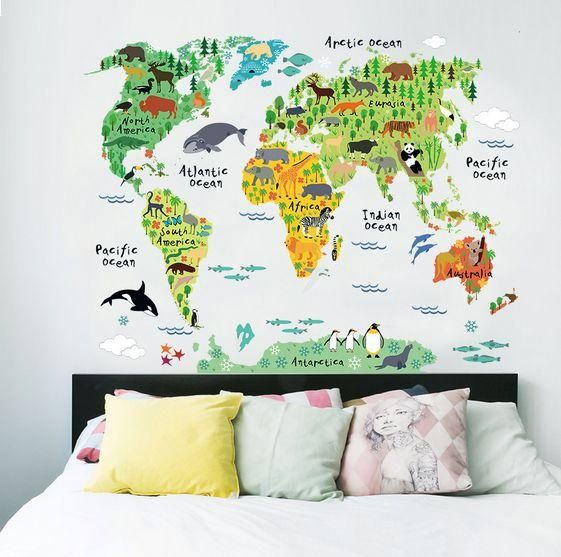 Animal World Map Bedroom Living Room Background Wall Stickers Souq