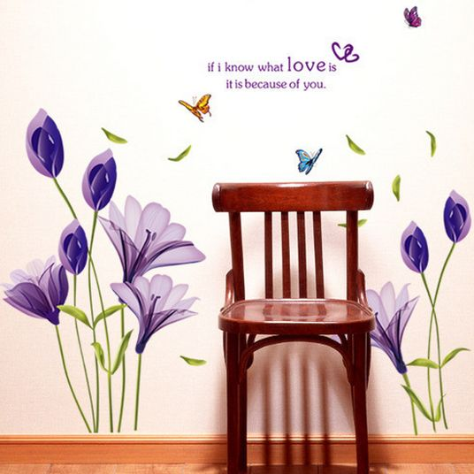 purple romantic flower wall decal mural diy removable wall sticker