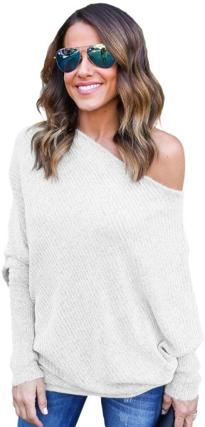 121533681b457b White Mixed Materials Off Shoulder Cardigan   Poncho Top For Women. by  Other