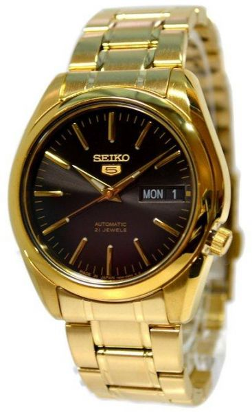 8aa4cb0568a Seiko Men Automatic Black Dial Day Date Gold Tone Stainless Steel Watch  (SNKL50J1)