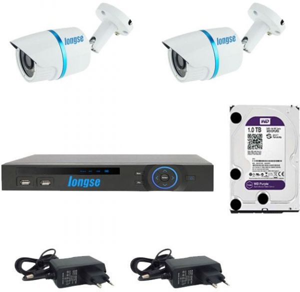 Longse AHD 4 Channels DVR + 2 Outdoor Security Cameras CCTV 1.3 MP  Weather Proof  IP66 Metal + 2 Adapter + HD WD Purple 1TB