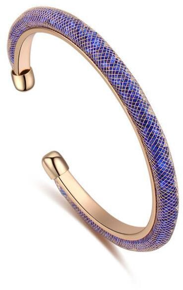 Swarovski Elements Women S Gold Plated Purple Magnetic Bangle