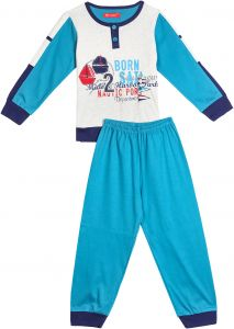 1414ed42215f7b Joanna Blue And Off White Mixed Materials Pajama For Boys
