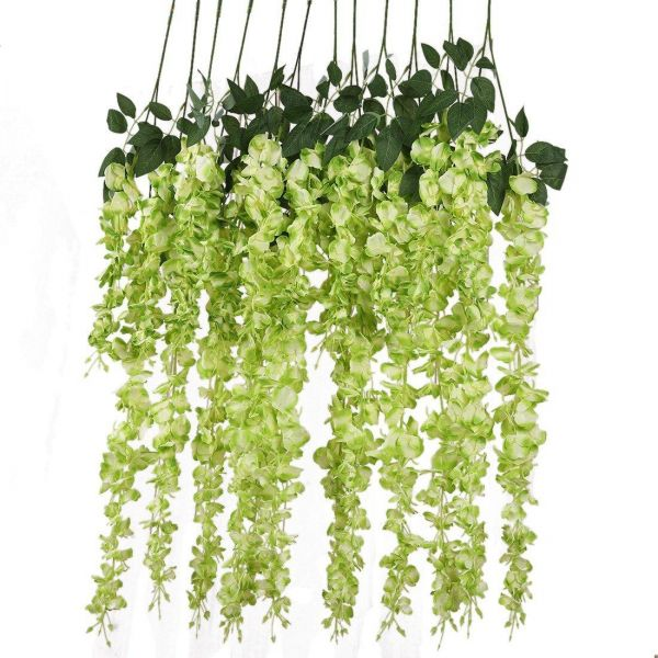 12pcs Artificial Silk Wisteria Vine Ratta Silk Hanging Flower