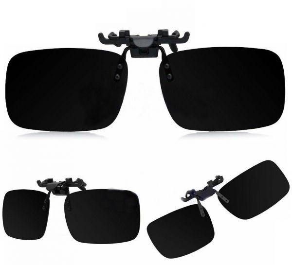 b99b23c972 Black Polarized Flip Up Clip On UV400 Driving Day Night Vision Sunglasses L  size