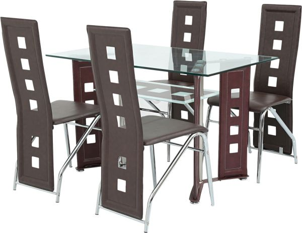 AFT 4 Seater Glass Dining Table With Chairs, Mahogany   AFTD4G