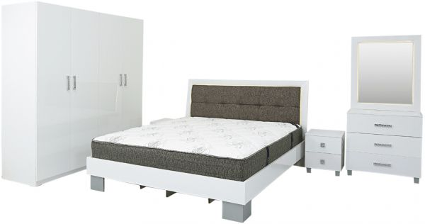 AFT Tycoon Series Bedroom Set With Mattress - King Size, High Glossy ...