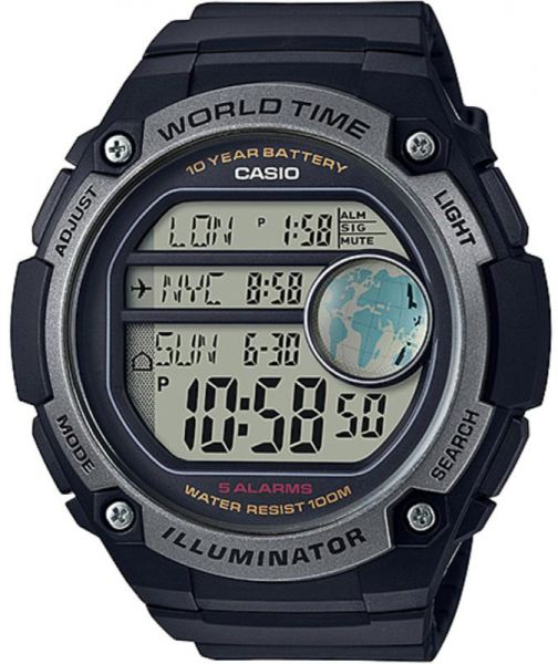 Casio World Map Watch.Casio World Time With Map Watch With 5 Alarms Ae 3000w 1a Souq Uae