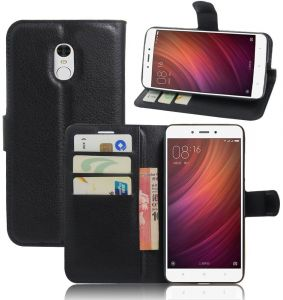 Xiaomi Redmi Note 4 - PU Leather Wallet Flip Case Stand Card Holder Cover - Black