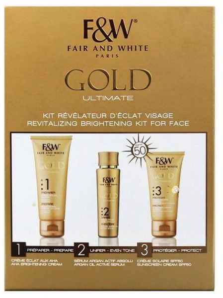 Fair & White Gold Ultimate Revitalizing Brightening Kit For Face 6 Pack - Curel Daily Healing Original Lotion For Dry Skin 13 oz