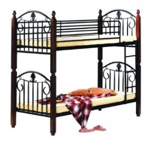 Steel Wood Bunk Bed Black With Mahogany Legs 190 L Cm X 90 W