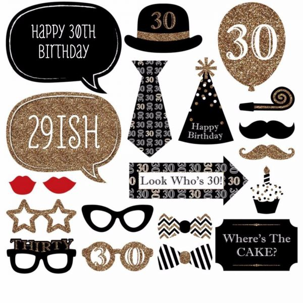 Set Of 20 Real Glitter Happy 30th Birthday Photo Booth Props On A Stick DIY Kits Photobooth Fun Party Favor Gifts Black
