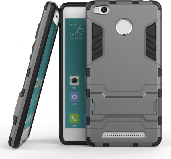 Xiaomi Redmi 3/3S/3 Pro Hybrid Armor Protective Case Housing ShockProof Cover -Grey