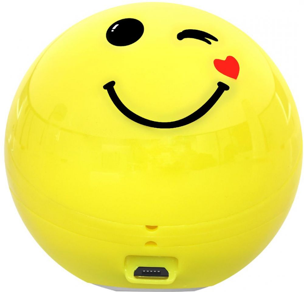 Promate Wireless Bluetooth Speaker, Cute Emoji Portable Bluetooth Speaker with HD Sound, Built-in Mic, and Micro SD Card Slot and 3.5mm Aux for Smartphones and Tablets, Flirty Funk