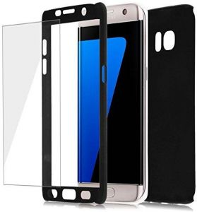 hot sale online a7648 dfc62 DOWIN 360 Full Coverage Hybrid Hard Case Cover WITH Tempered Glass Film for  Samsung Galaxy S7 Edge Black COLOR