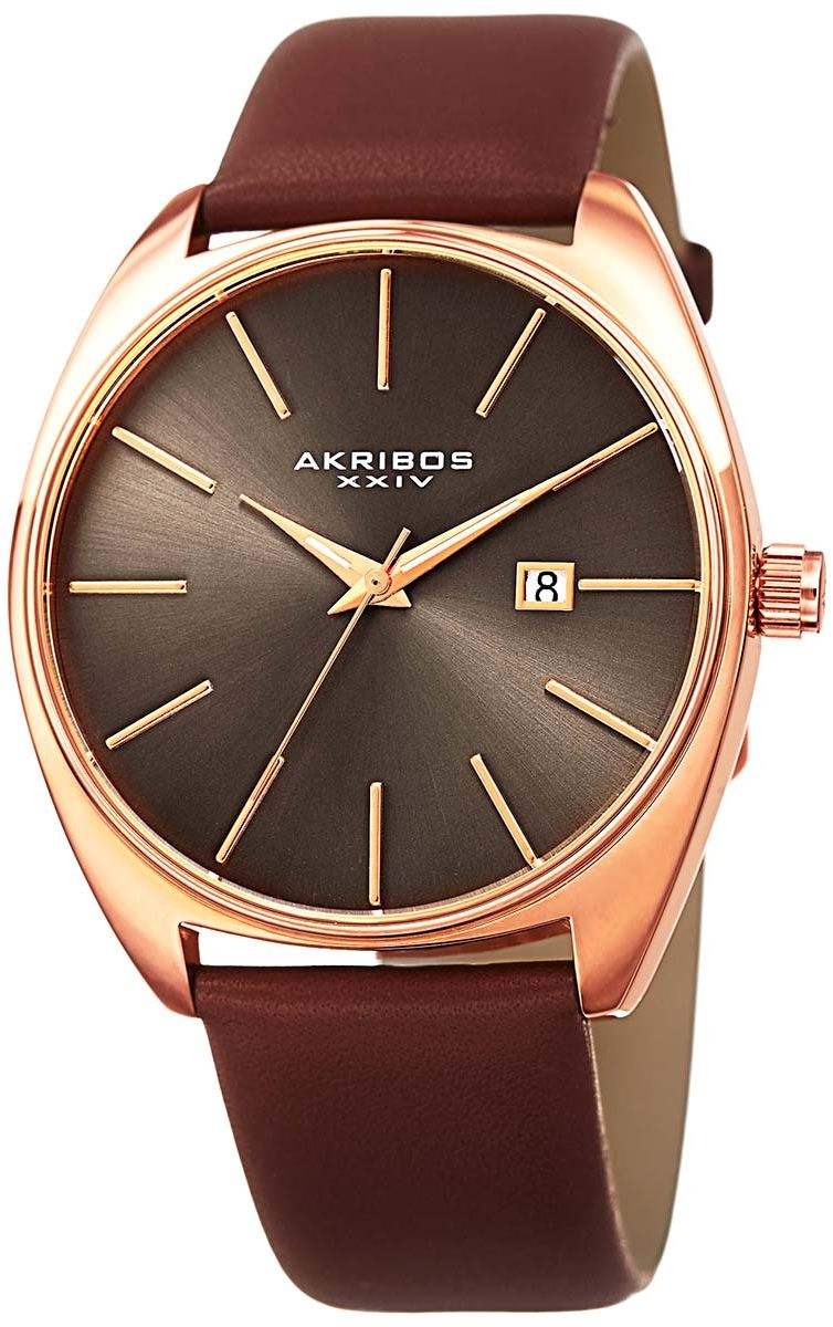 Akribos XXIV Tonneau Sunray Dial Date Strap Men's Brown Leather Band Watch - AK945RGBR, Analog