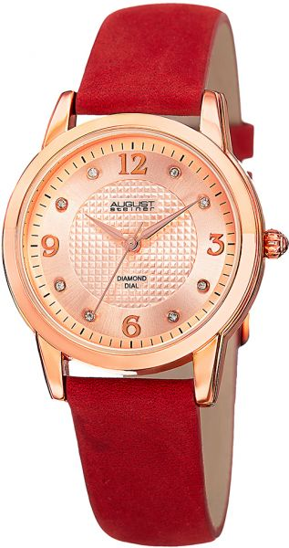 August Steiner Women's Rose Tone Dial Leather Band Watch - AS8198RD