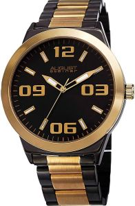 02d52a245 August Steiner Men's Black Dial Stainless Steel Band Watch - AS8134YGB