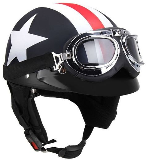 Half Open Face Motorcycle Helmet With Goggles Visor Scarf Ksa Souq