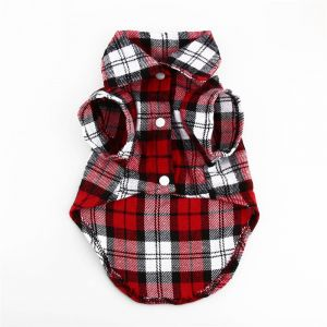 Dress Clothes Flannel style Shirt Vest Costume for small Dog Puppy Cat  Red White Fancy Paws - Size M 86739b30c734
