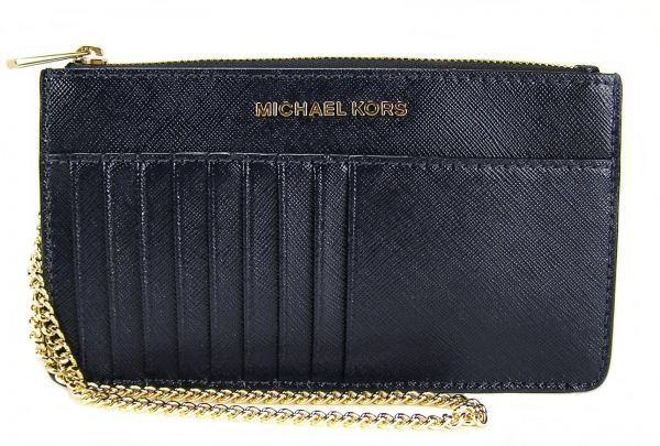 2c198c7edfd8 Michael Kors 32F6GTVD8A Jet Set Travel Saffiano Leather Chain Card Case  Wallet - ADMIRAL