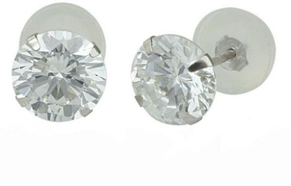 Golden Choice 14k Solid White Gold 2mm Tiny Clear Cubic Zirconia Stud Earrings