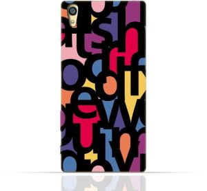 Sony Xperia Z3 TPU Silicone Case with Abstract Font Seamless Pattern.