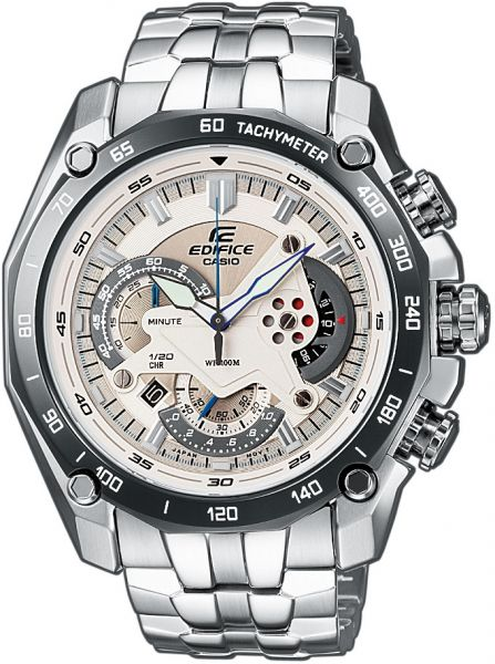 87122f6bb14 Casio Edifice Men s White Dial Stainless Steel Chronograph Watch - EF-550D-7A
