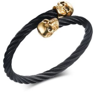 ad4d92c029a VNOX Men's Skull Bangle Bracelet Punk Black Twisted Wire Cable Cuff Skeleton