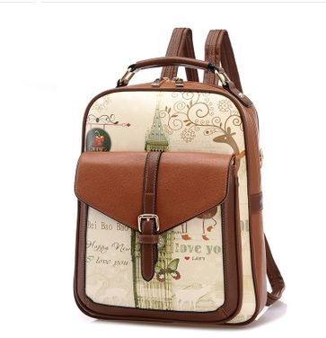 e69867c9b8b Korean version Fashion Trend Personality Leather double shoulder bag  Backpack for Women Brown HY88   Souq - UAE