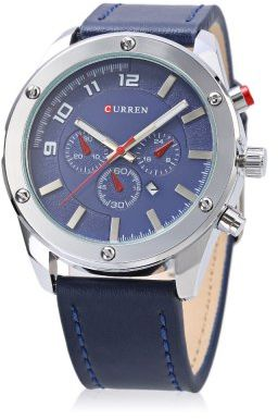 Curren Mens Blue Dile Leather Strap Watch 8204