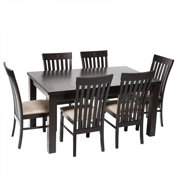 AFT Wooden Dining Table Set With 6 Chairs Brown
