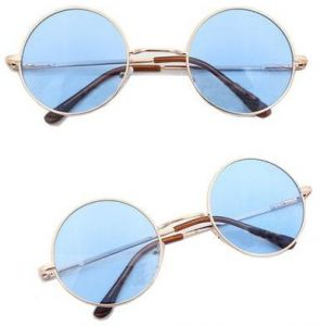 4bd9fd7284c Circle Round Vintage Style Sunglasses Festival Geek Retro Cyber Gold Frame  Blue Lens