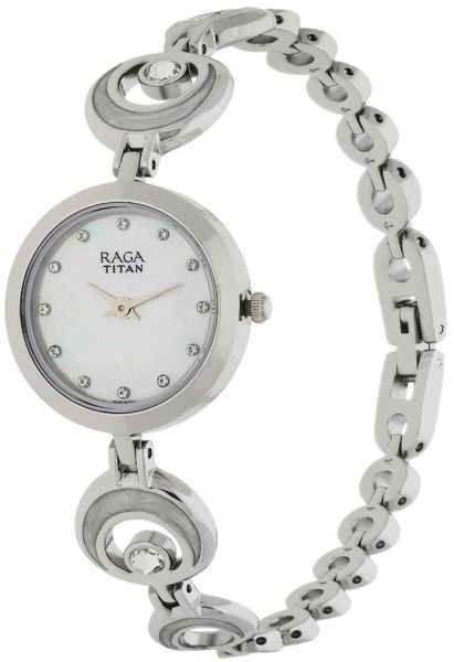 Titan Womens White Dial Stainless Steel Band Watch - 2540SM03