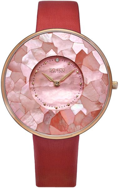 SO&CO New York SoHo Men's Pink Dial Satin Band Watch - 5274.3