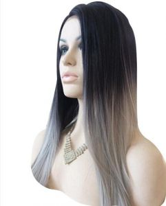 a59919768 Women Straight Hair front lace wig deep invisible part wig gray color