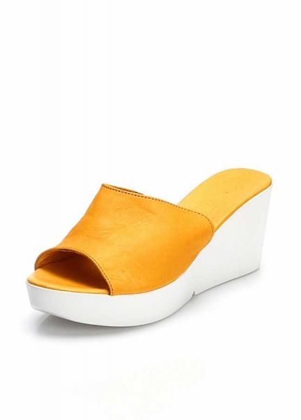 19baf507d8de Bueno Shoes Mustard Wedge Slipper For Women