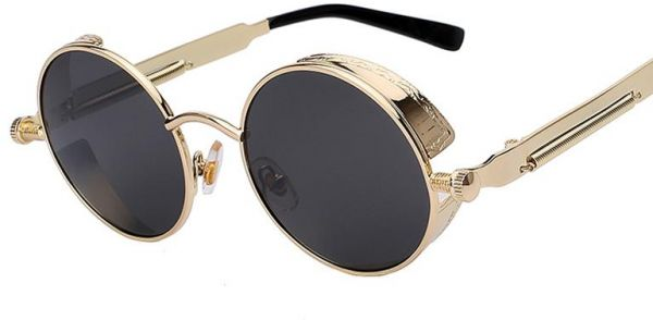 d8e268eda3c Gold Frame Metal Sunglasses Steampunk Retro Round Vintage Eyewear UV400  (Black Lens)
