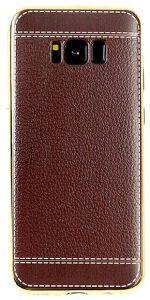 Men Samsung Galaxy S8 plus leather cover slim snap-on case soft silicone shockproof protective sleeve brown