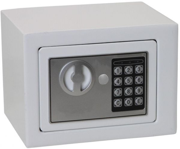 Solid Steel Digital Electronic Keypad Lock Safe for Home and Office Security with Keyless Entry - White