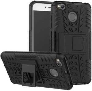 Xiaomi Redmi 4X -Heavy Duty Silicone Armor Kickstand Shockproof Phone Case Cover -Black
