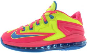 best loved 020fb 04f8d Nike LeBron XI Low Gradeschool Running Shoes for Boys, Volt Photo Blue Hyper  Pink